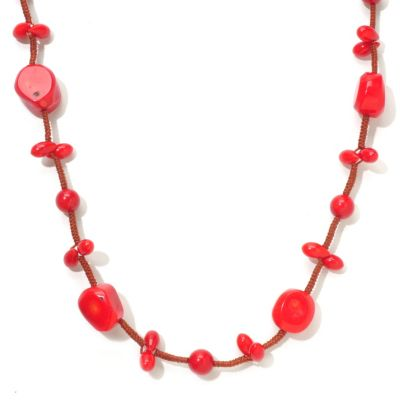 "120-302 - 49"" Dyed Red Sea Bamboo Cord Necklace"