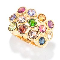 SS/18K YV RING BEZEL-SET MULTI EXOTIC GEMSTONE