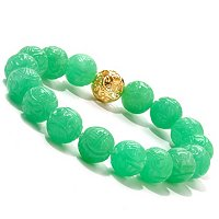 SS/P CARVED GREEN JADE & BEAD STRETCH BRACELET