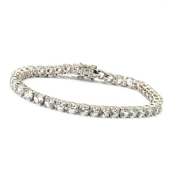 120-373 - Gem Treasures Sterling Silver White Zircon Bracelet