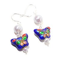 BUTTERFLY CLOISIONNE & WHITE FWP EARRINGS