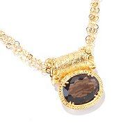 "PORSAMO BLEU SS/21KV NECK SMOKY QUARTZ SLIDE & 18"" MULTI-STRAND"
