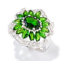 SS MQ CHROME DIOPSIDE W/ WHITE ZIRCON RING
