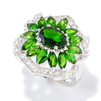 120-423 - Gem Insider Sterling Silver 4.68ctw Chrome Diopside & White Zircon Ring
