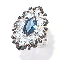 SS LONDON BLUE TOPAZ, AQUA, AND BLUE DIAMOND RING