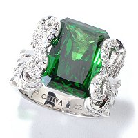 CL SS/PLAT SIMULATED EMERALD BOW RING