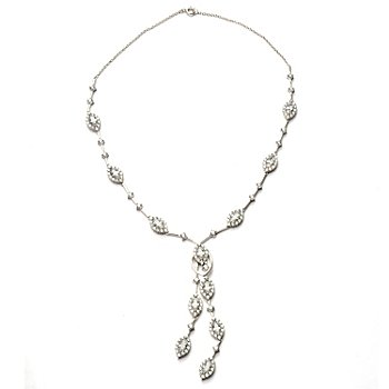120-504 - Charlie Lapson for Brilliante® Platinum Embraced™ 15.22 DEW Marquise Drop Necklace
