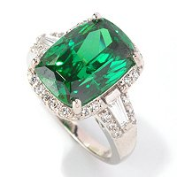 CL SS/PLAT SIMULATED GEMSTONE ELONGATED CUSHION HALO RING