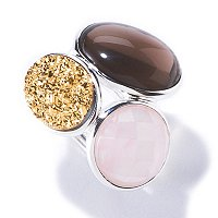 SEMPRESILVER[TM] SS FACETED ROSE QTZ-SMOKY QTZ-GOLD DRUSY RING