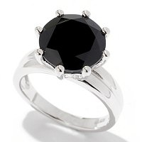 SS SOLITAIRE BLACK SPINEL RING 11MM