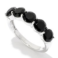 SS FIVE STONE BLACK SPINEL RING