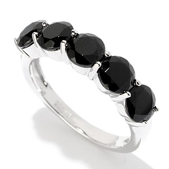 120-526 - Gem Treasures Sterling Silver Black Spinel Five-Stone Ring