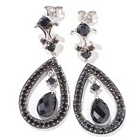 SS BLACK SPINEL DROP EARRINGS