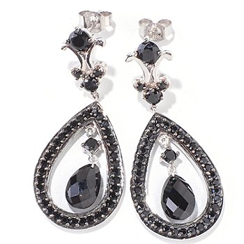 120-528 - Gem Treasures Sterling Silver 6.98ctw Black Spinel Teardrop Shaped Earrings