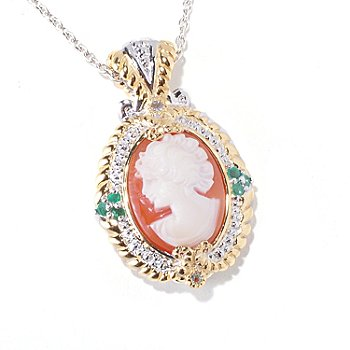 120-560 - Gems en Vogue II Hand Carved Shell Cameo, Emerald & White Sapphire Pendant w/ Chain