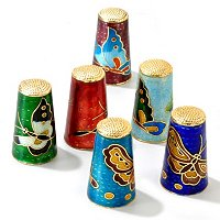 SET OF SIX CLOISONNE THIMBLES