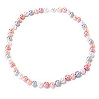 SS 10-11MM WHITE, PINK, PEACH & GREY FWP NECKLACE
