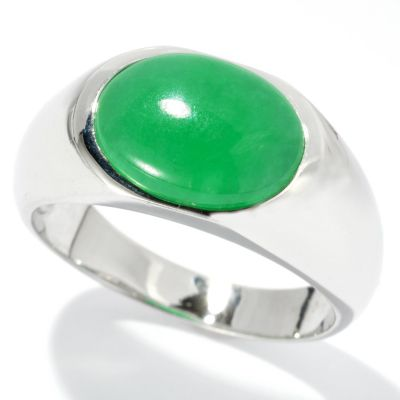 120-609 - Men's Sterling Silver 13 x 10mm Dyed Jade Ring