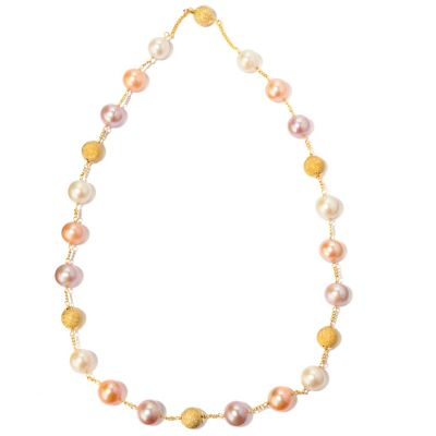 "120-610 - Gold Embraced™ 21"" 11-12mm Freshwater Cultured Pearl & Bead Necklace"