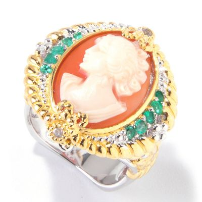 120-613 - Gems en Vogue II Hand Carved Shell Cameo, Emerald & White Sapphire Ring