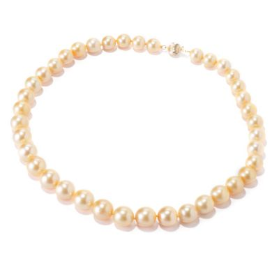 "120-618 - 14K Gold 18"" 9-12mm Golden South Sea Cultured Pearl Necklace"