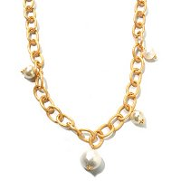 "GOLDTONE 39"" CRYSTAL AND COTTON PEARL ""COCO"" NECKLACE"