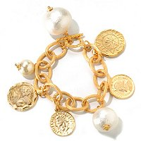 "GOLDTONE 7.75"" COTTON PEARL MEDALLION DISC BRACELET"