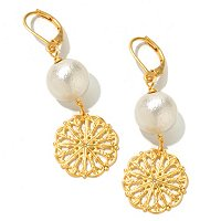 GOLDTONE COTTON PEARL FILAGREE DISC DANGLE EARRINGS