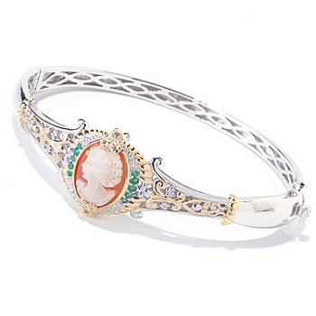 120-659 - Gems en Vogue II Hand Carved Shell Cameo, Emerald & White Sapphire Bangle Bracelet