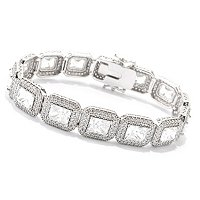 CL SS/PLAT EMERALD CUT HALO TENNIS BRACELET