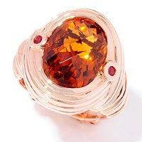 SS/ROSE TOP CUT MAD CITRINE & ORANGE SAPP WIRE WRAP RING