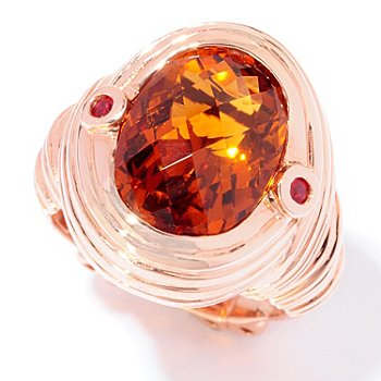 120-697 - Dallas Prince Designs 5.10ctw Madeira Citrine & Orange Sapphire Wire Wrap Ring