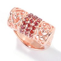 SS/ROSE ROLL RING WITH GARNET