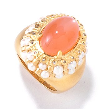 120-707 - Dallas Prince Designs 14 x 10mm Peach Moonstone, Freshwater Cultured Pearl & Diamond Ring