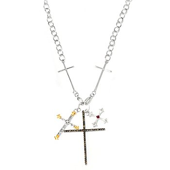 120-708 - Dallas Prince Designs Sterling Silver 24'' Multi Gemstone Cross Necklace