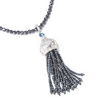 SS TOGGLE HEMATITE AND BLUE TOPAZ TASSEL NECK