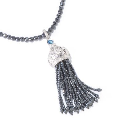 "120-711 - Dallas Prince Designs 34"" Hematite, London Blue Topaz & White Sapphire Necklace"