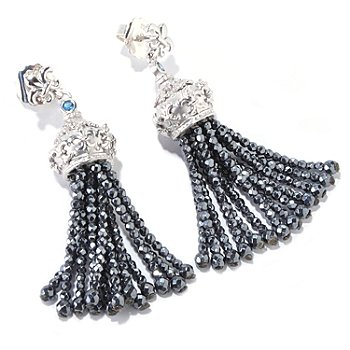 120-712 - Dallas Prince Designs Hematite, London Blue Topaz & White Sapphire Tassel Earrings