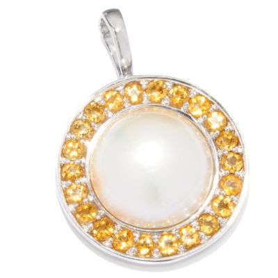120-717 - Sterling Silver 17-18mm Mabe Cultured Pearl & Gemstone Enhancer Pendant