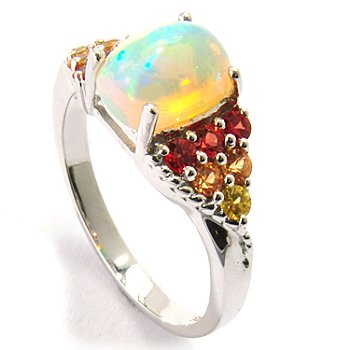 120-718 - Gem Insider Sterling Silver Ethiopian Opal & Multi Color Sapphire Ring