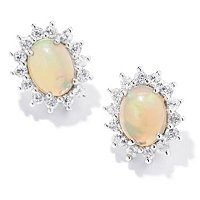 SS OVAL ETHIOPIAN OPAL W/ ZIRCON STUD EARRINGS