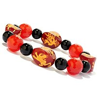 "8"" DRAGON CARNELIAN & ONYX STRETCH BRACELET"