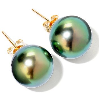 120-750 - 14K Gold 11-12mm Green Tahitian Cultured Pearl Stud Earrings
