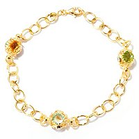 "VIALE 18K 8"" LINK BRACELET W/FACETED STONE STATIONS"