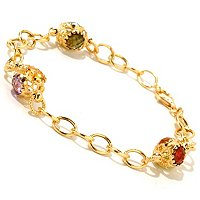 "VIALE 18K 7,25"" LINK BRACELET W/FACETED STONE STATIONS"