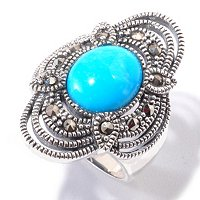 SS SLEEPING BEAUTY TURQUOISE AND MARCASITE RING