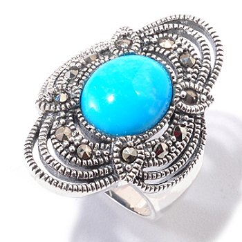 120-781 - Gem Insider Sterling Silver 11 x 9mm Sleeping Beauty Turquoise & Marcasite Ring