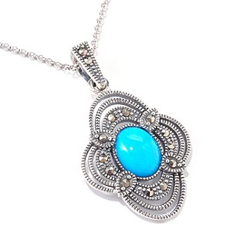 120-782 - Gem Insider Sterling Silver 11 x 9mm Sleeping Beauty Turquoise & Marcasite Pendant