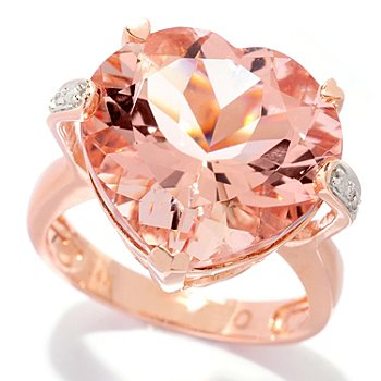 120-783 - Gem Treasures 14K Gold 10.02ctw Morganite & Diamond Heart Shaped Ring