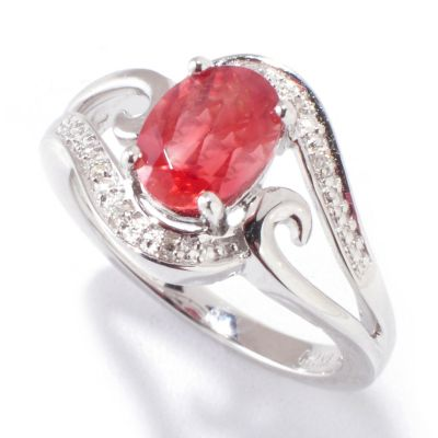 120-784 - Gem Insider Sterling Silver 1.26ctw Sunstone & Diamond Ring